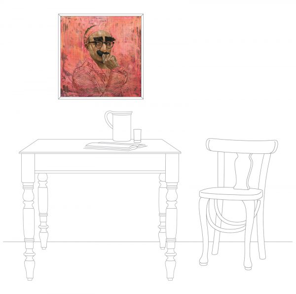 The artwork in a home setting